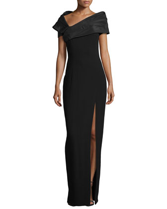 Taffeta Portrait Collar Gown with Slit, Black