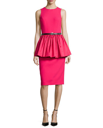 Sleeveless Crepe Peplum Dress, Azalea