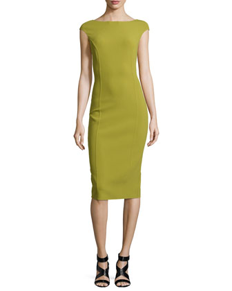 Stretch-Wool Crepe Sheath Dress, Leaf