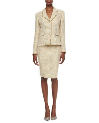 Shimmery Tweed Skirt Suit