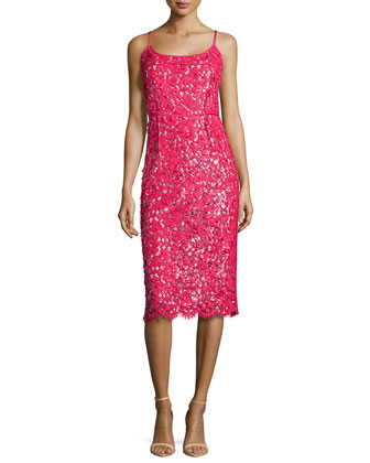 Guipure Lace Spaghetti Strap Sheath Dress, Azalea