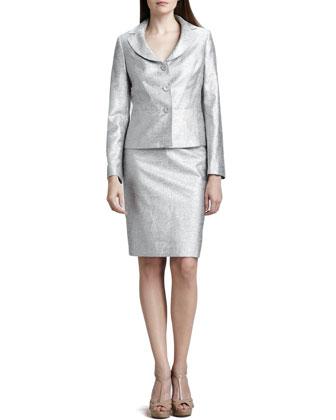 Metallic 3-Button Skirt Suit