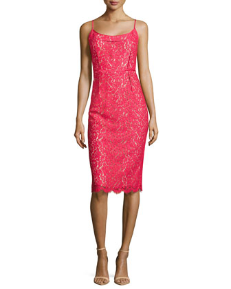 Floral Lace Spaghetti Strap Sheath Dress, Azalea