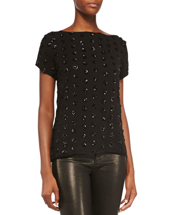 Short-Sleeve Sequined Dot Tee
