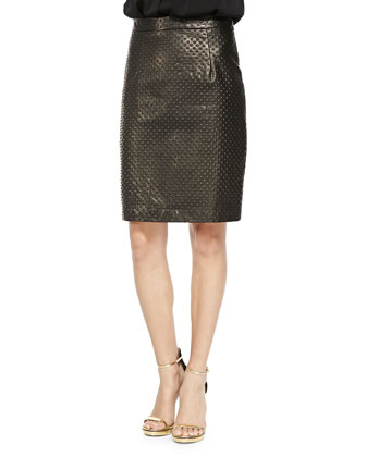 Embossed Leather Pencil Skirt