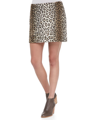 Perforated/Cable-Knit Sweater & Pull-On Leopard Miniskirt