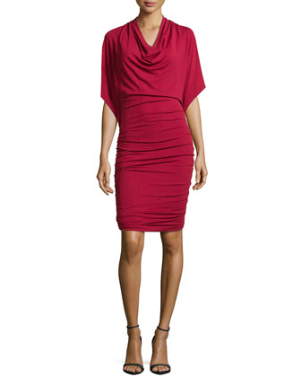 Flutter-Sleeve Ruched Dress, Rose