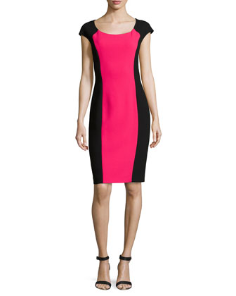 Two-Tone Crepe Dress, Azalea