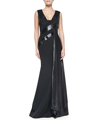 Snake-Trimmed Silk Gown, Black