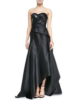 Strapless Mixed Media Gown