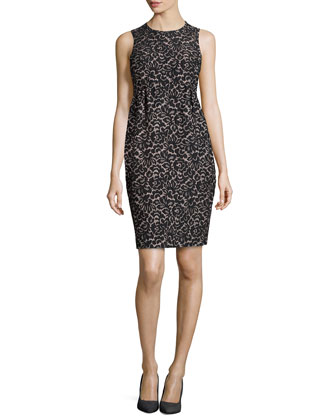 Lace Jacquard Empire Shift Dress