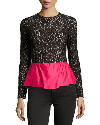 Floral Lace Peplum Top, Black