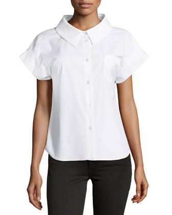 Stretch Poplin Short-Sleeve Button Top, White