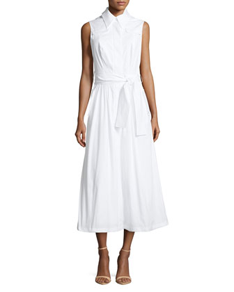 Stretch Cotton Sleeveless Midi Shirt Dress, White