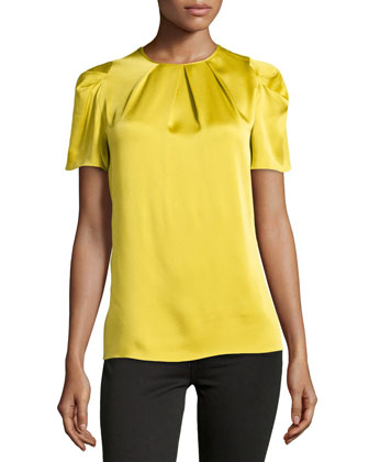 Pleated-Neck Charmeuse Top, Chartreuse