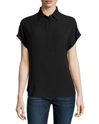 Silk Georgette Short-Sleeve Popover Blouse, Black