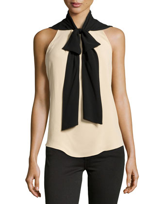 Bow-Neck Silk Shell, Nude