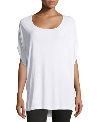 Scoop-Neck Long Tunic, White