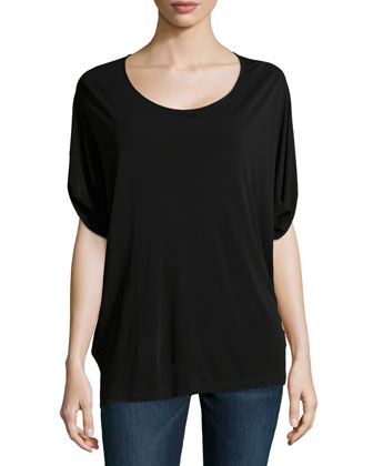 Scoop-Neck Long Tunic, Black