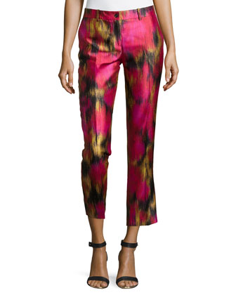 Samantha Zinnia-Print Pants, Rose/Leaf/Black