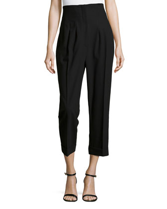 High-Waist Pleated Pants, Black