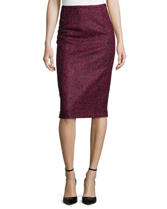 Herringbone Pencil Knee-Length Skirt, Black/Peony