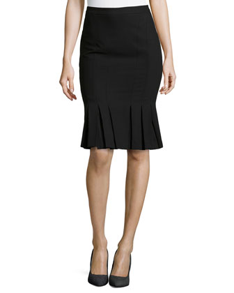 Serge Gored Pleated-Hem Skirt, Black