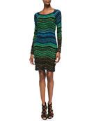 Long-Sleeve Fancy Ripple-Knit Dress