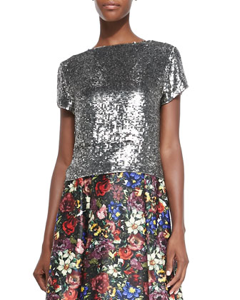 Sarita Short-Sleeve Sequined Tee