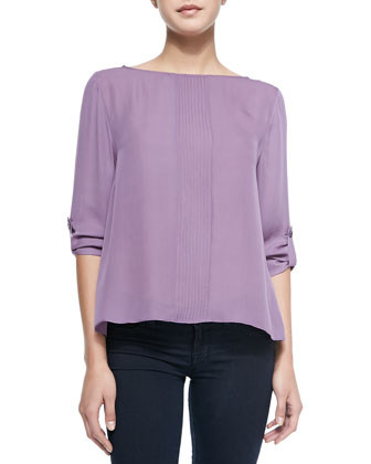 Coro Pintucked Roll-Sleeve Top