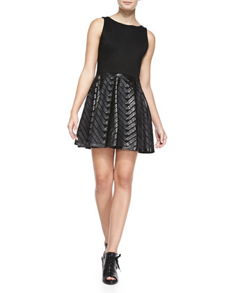 Zilla Leather Swing-Skirt Combo Dress