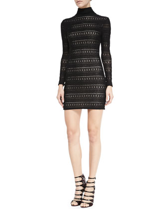 Jerica Pattern-Stripe Mock-Neck Dress