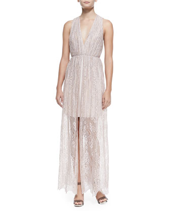 Julissa Halter-Neck Gathered Lace Dress
