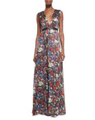 Triss Floral-Print Maxi Dress with Cutout Back
