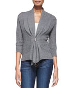 Open Weave Buckle-Front Cashmere Cardigan