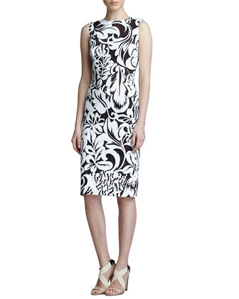 Floral Twill Sheath Dress, Black/White