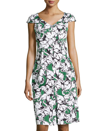 Elephant-Print Cap-Sleeve Dress, Elephants