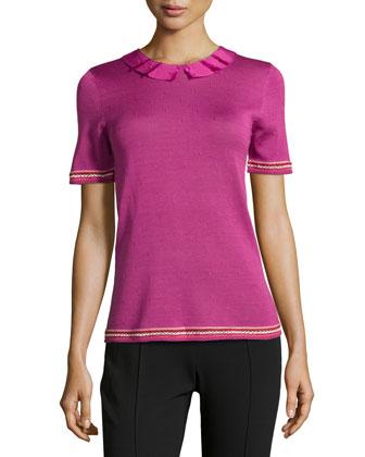 Short-Sleeve Ribbon-Neck Top, Framboise