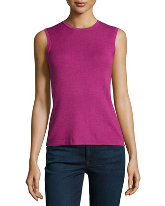 Sleeveless Basic Knit Shell, Framboise
