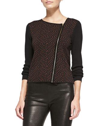 Asymmetric Zip-Front Jacquard Jacket