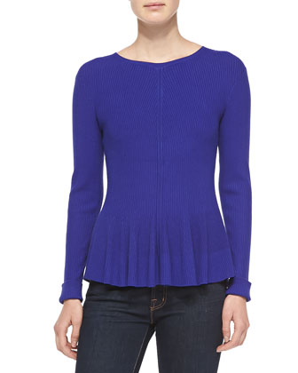 Long-Sleeve Ribbed Peplum Top