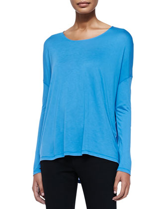 Long-Sleeve Tee W/ Dropped Shoulders & Mason Slim Cropped Jeans