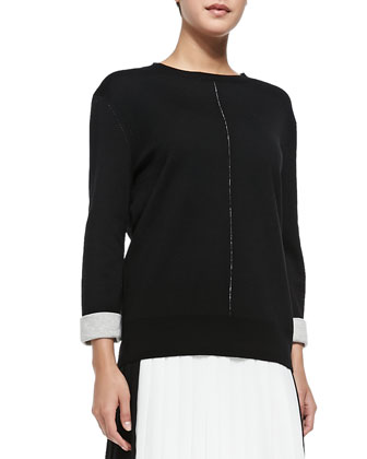 Double-Faced Crewneck Sweater & Pleated Georgette Colorblock Skirt