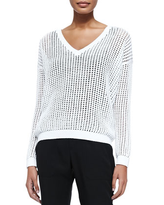 Grid Mesh V-Neck Sweater