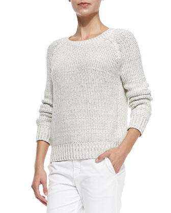 Mixed-Knit Rib-Trim Sweater
