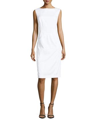 Sleeveless Stretch Poplin Dress, White