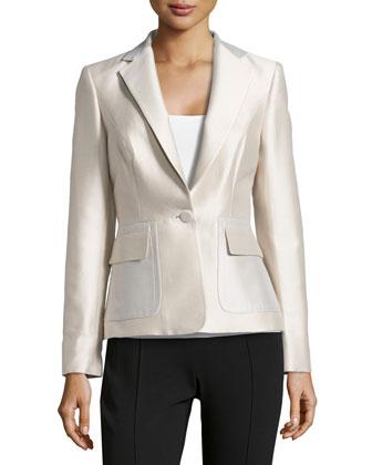 Silk-Cotton One-Button Mikado Jacket, Greige