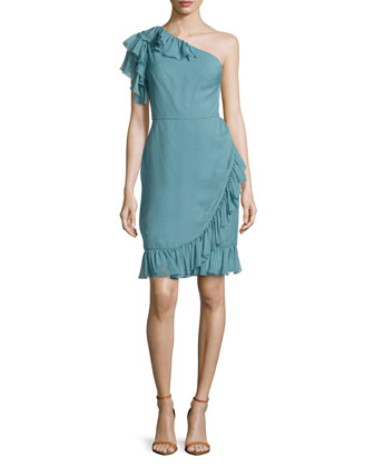 One-Shoulder Ruffed Chiffon Dress, Slate