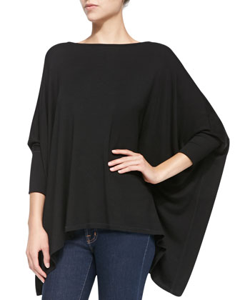 Boat-Neck Poncho Sweater