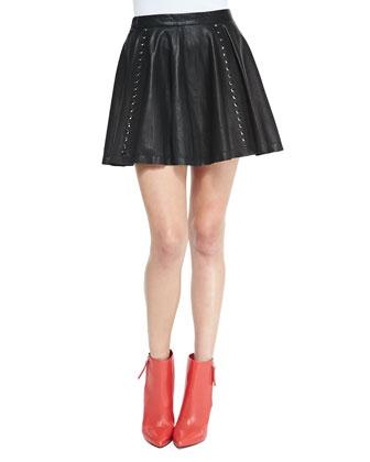 Akira Grommet-Stripe Leather Skirt